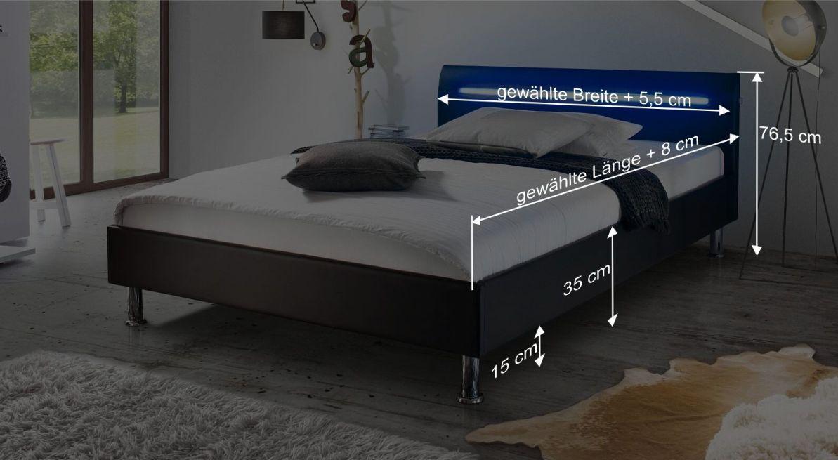 Bemaßungsgrafik zum Bett Barda