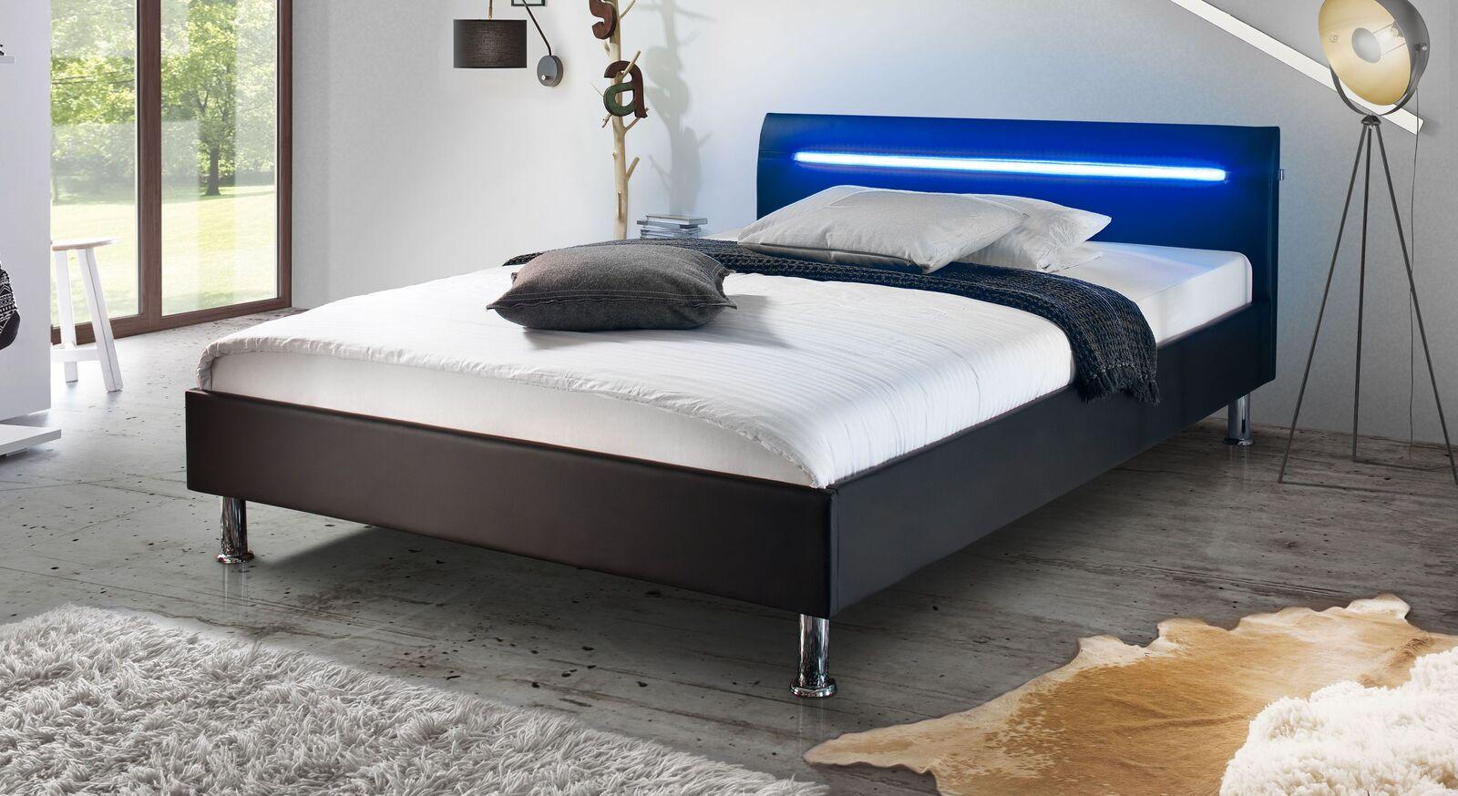 Bett Barda mit schwarzem Bezugsstoff