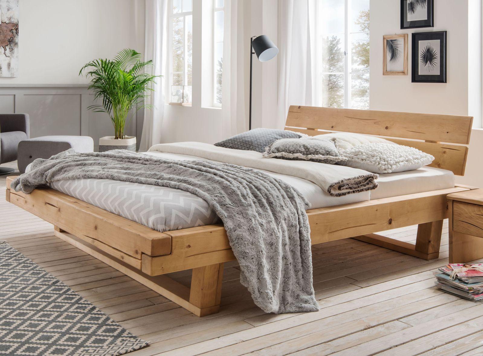 Balkenbett aus Fichtenholz natur geölt bis 200 kg - Basiliano