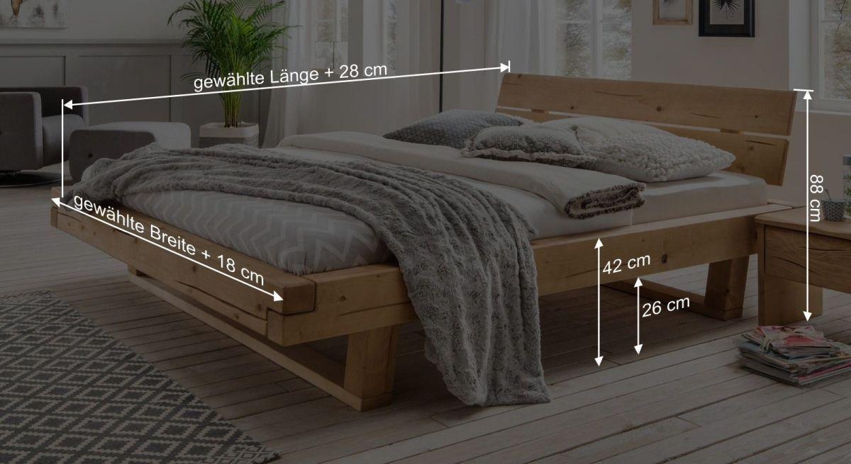 Bemaßungsgrafik zum Bett Basiliano