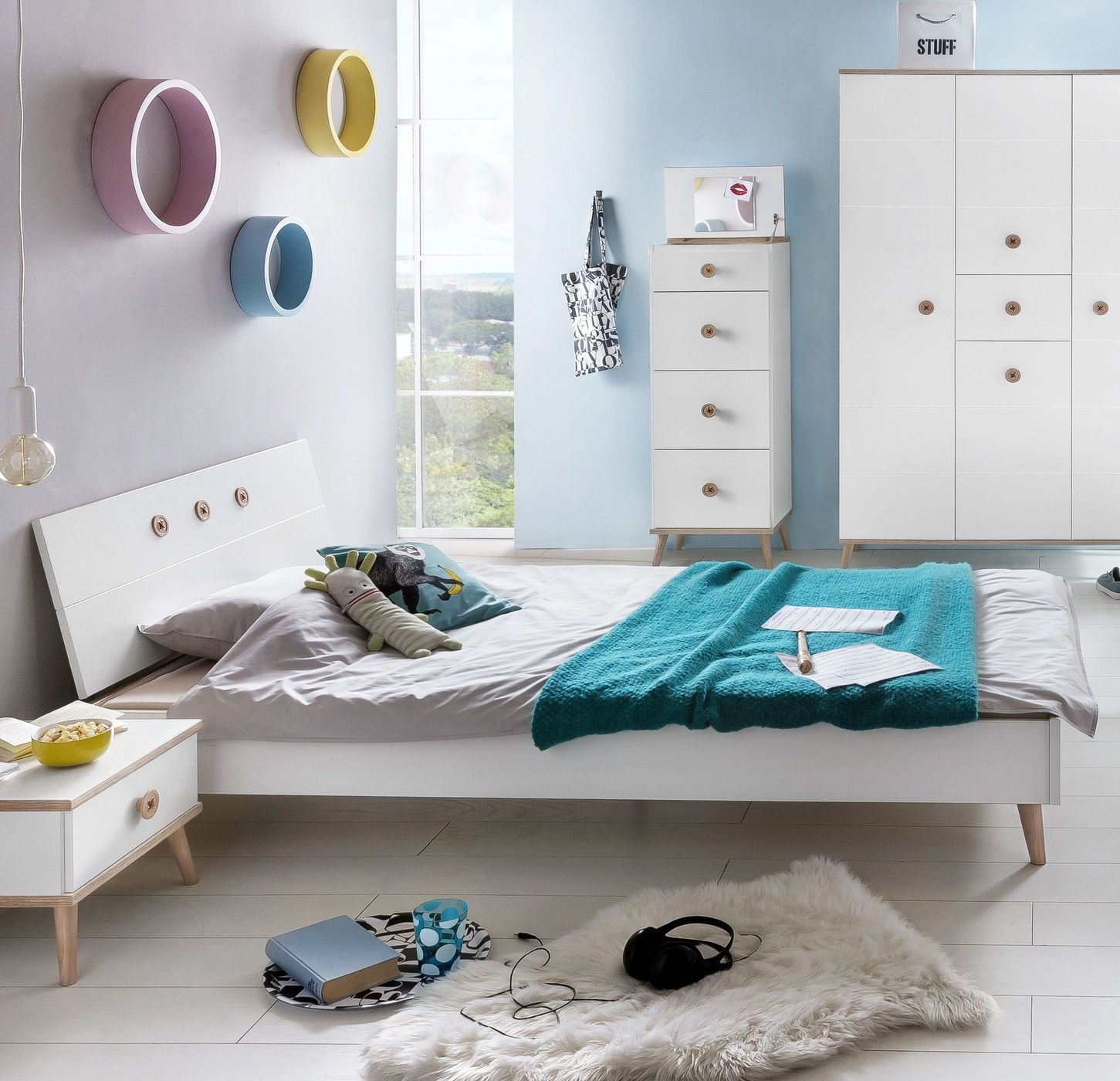 neutrales design einrichtung skandinavischen stil, preiswertes alpinweißes bett im skandinavischen design - beano, Design ideen