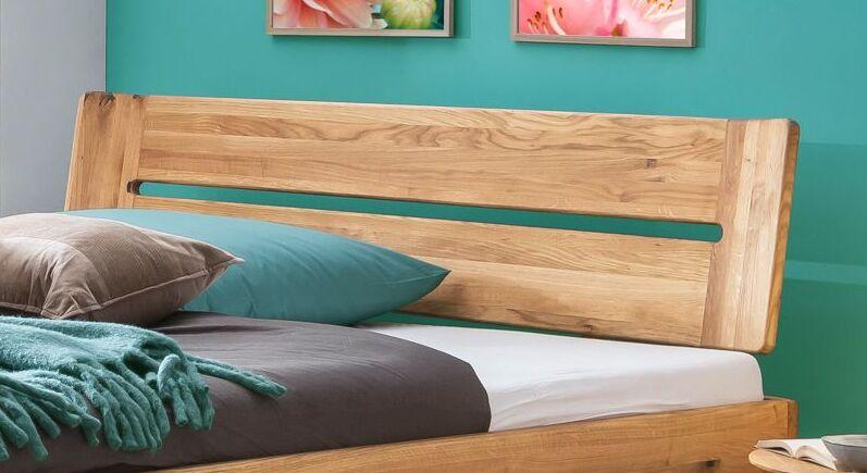 Bett Bekan mit abgerundetem Holz-Kopfteil