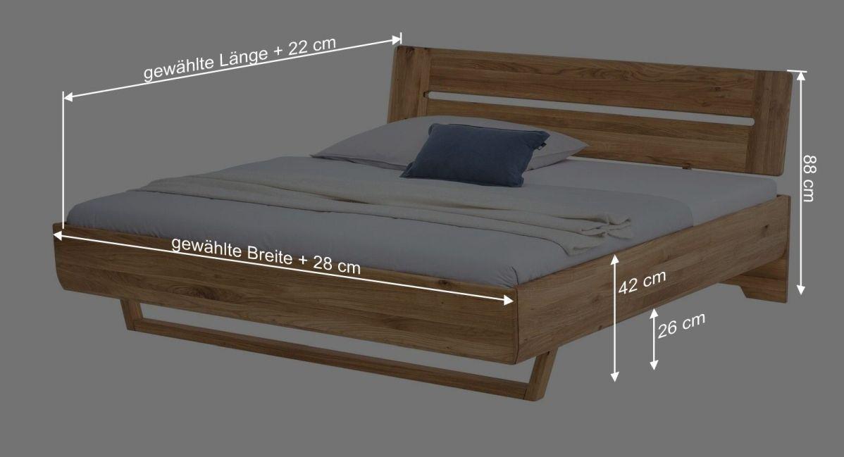 Bemaßungsgrafik zum Bett Bekan