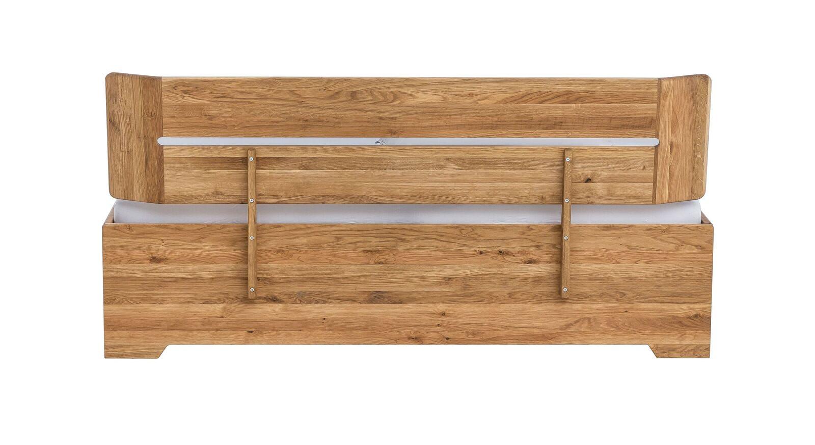 Bett Bekan aus natur geöltem Wildeichenholz