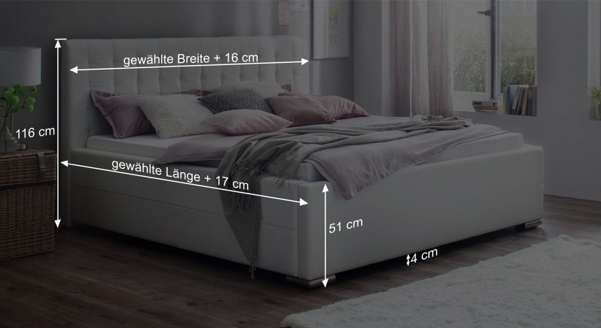 Bemaßungsgrafik zum Bett Boretto