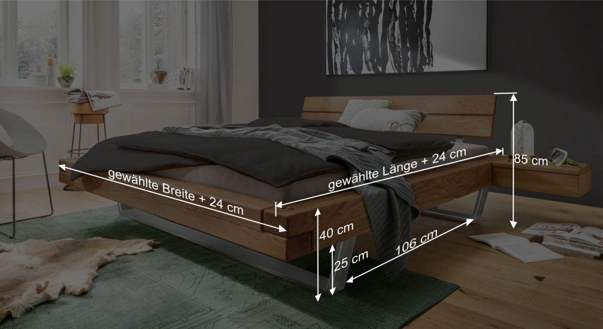 Bemaßungsgrafik zum Bett Borka