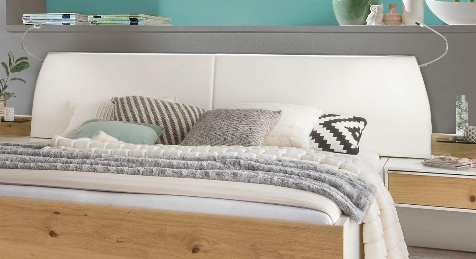 Bett Briston mit weißes gepolstertes Kopfteil