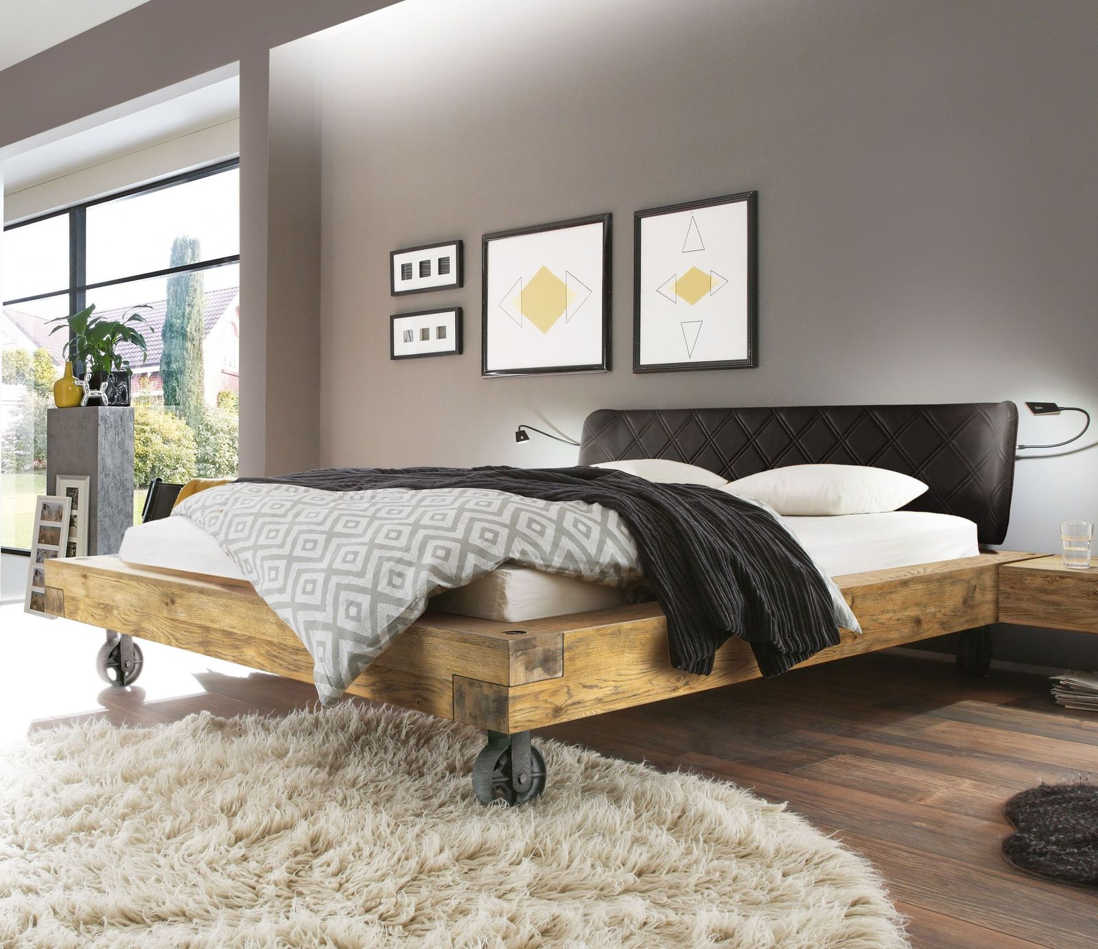 echtholz bett aus wildeiche balkenoptik industrial style. Black Bedroom Furniture Sets. Home Design Ideas