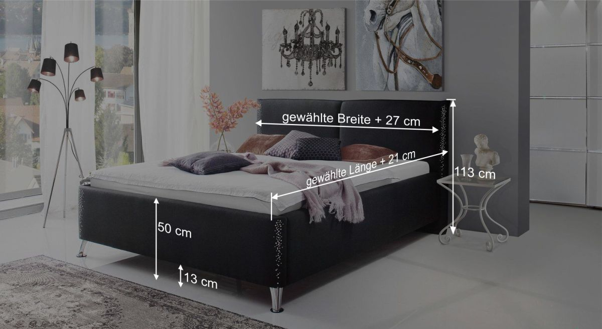 Bemaßungsgrafik vom Bett Capistello