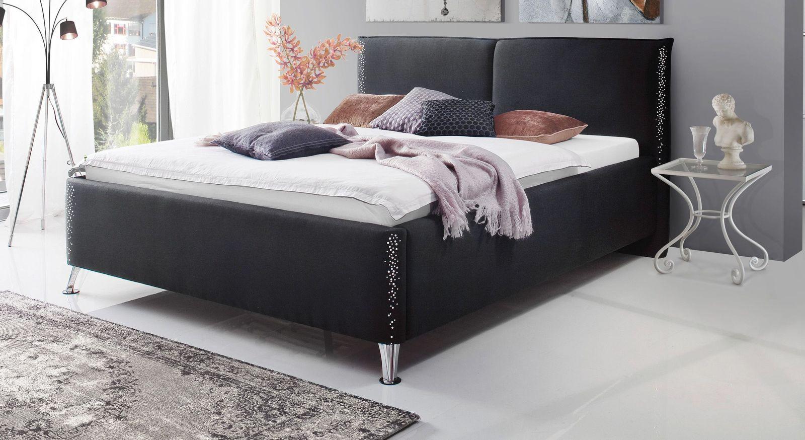 Trendiges Bett Capistello aus schwarzem Webstoff