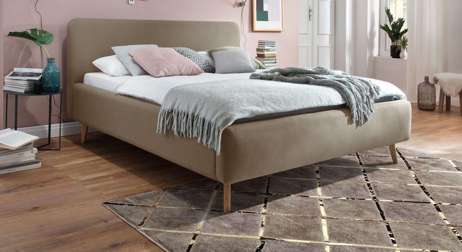 Bett Carballo aus taupefarbenem Webstoff