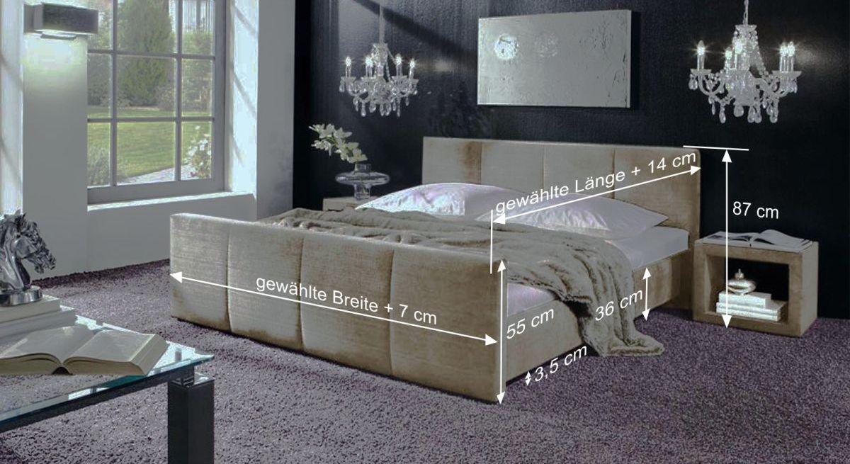 Bemaßungsgrafik zum Bett Caserta