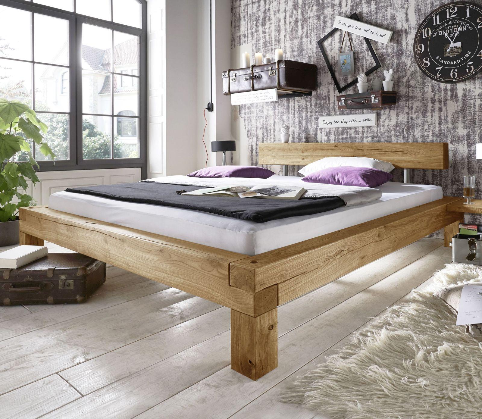 rustikales balkenbett aus massivem wildeichenholz claro. Black Bedroom Furniture Sets. Home Design Ideas