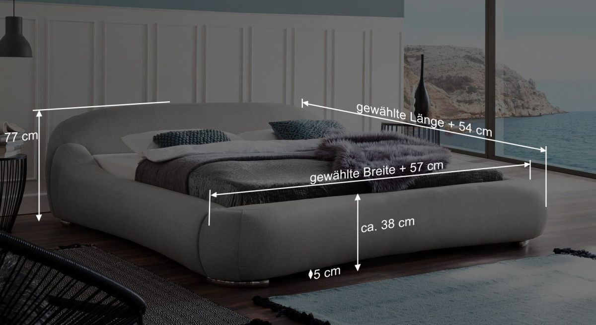 Bemaßungsgrafik vom Bett Condea