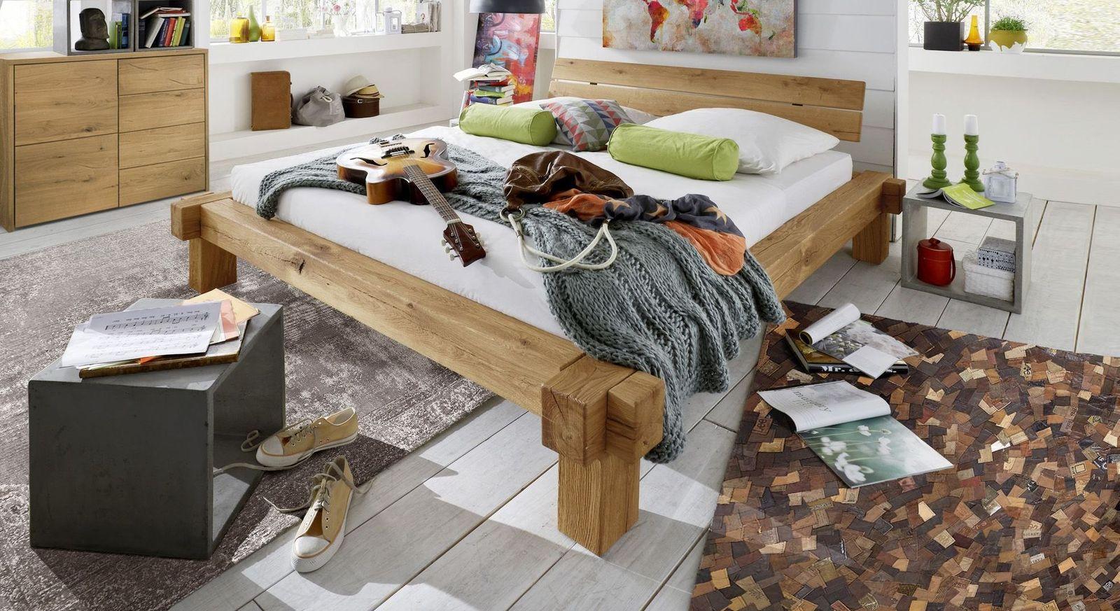 Balken-Bett Corumba mit Steckbettrahmen