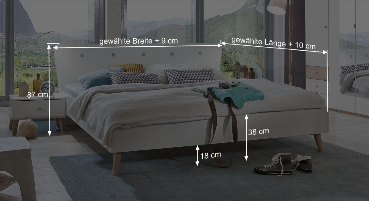 Bemaßungsgrafik zum Bett Corvara