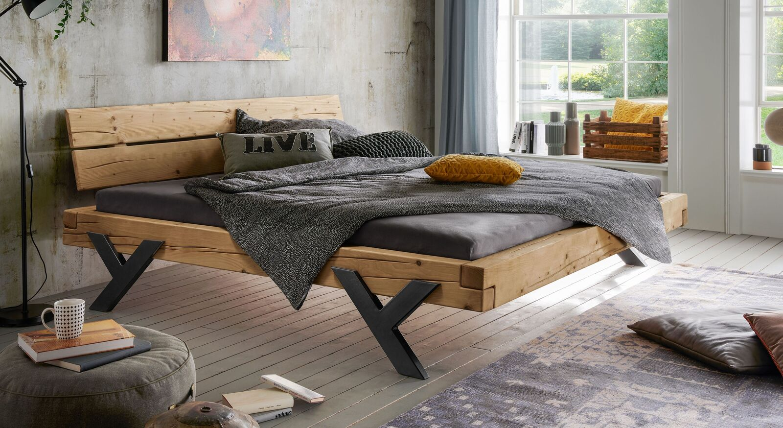 Modernes Bett Cuamba in 180cm Breite