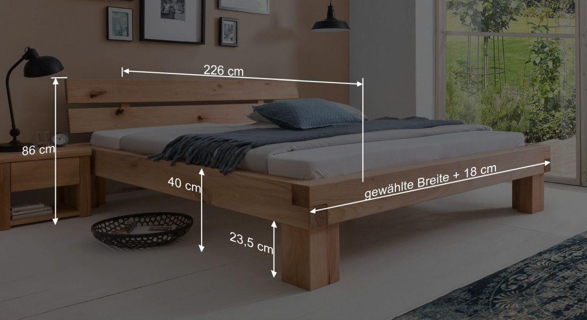Bemaßungsgrafik vom Bett Cunera
