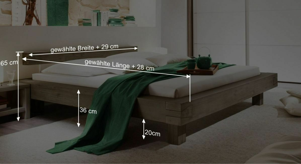 Bemaßungsgrafik zum Bett Dinia
