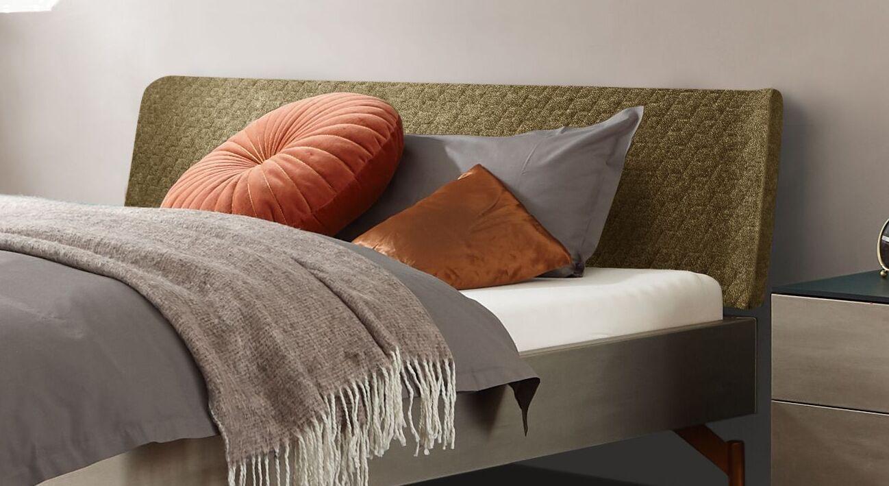 Bett Diorit mit Kopfteil aus Struktur-Velours