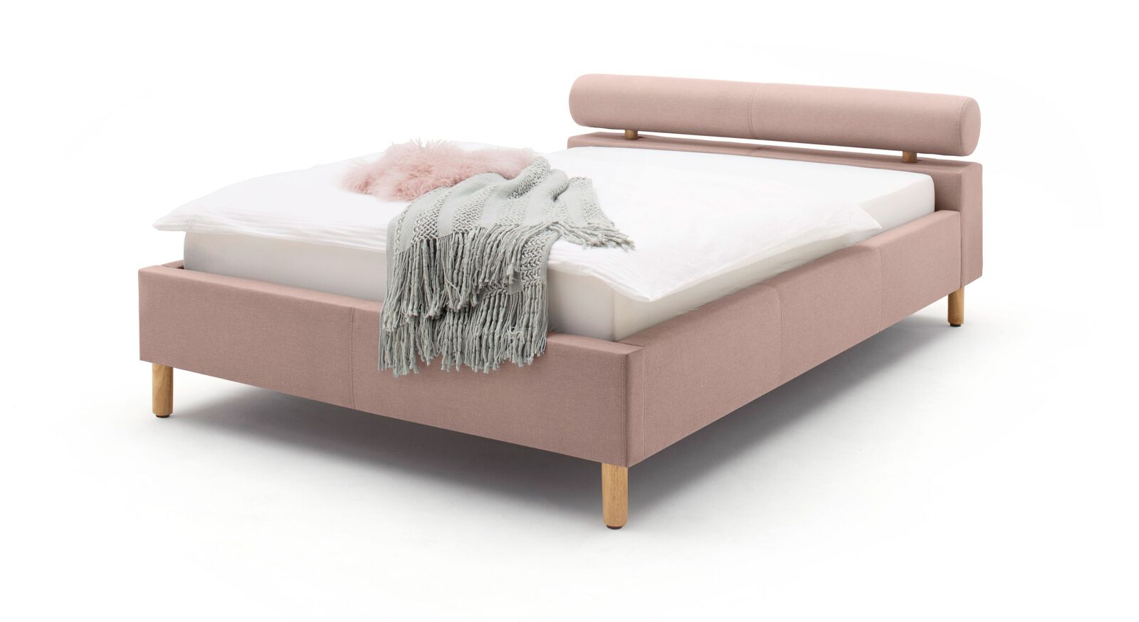 Bett Dorado mit puristischer Nackenrolle