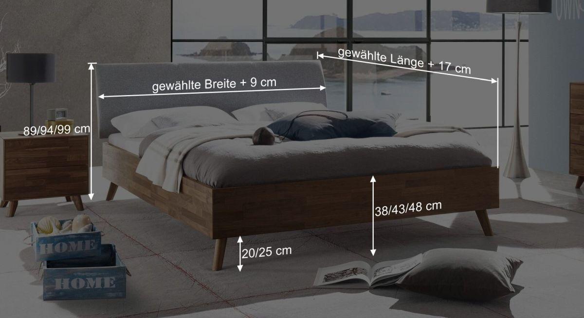 Bemaßungsgrafik vom Bett Dorota