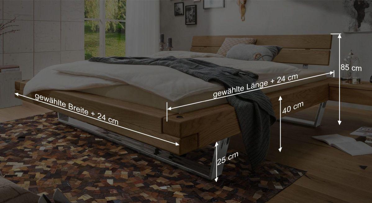 Bemaßungsgrafik zum Bett Doxato
