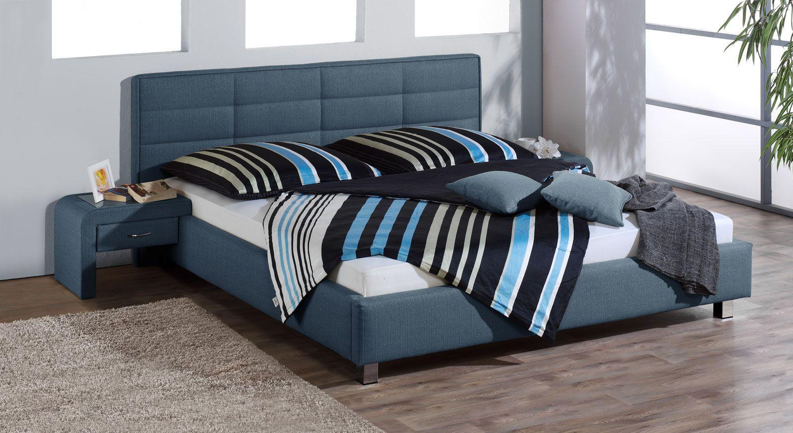 Bett El Coco mit Strukturstoff in Blau