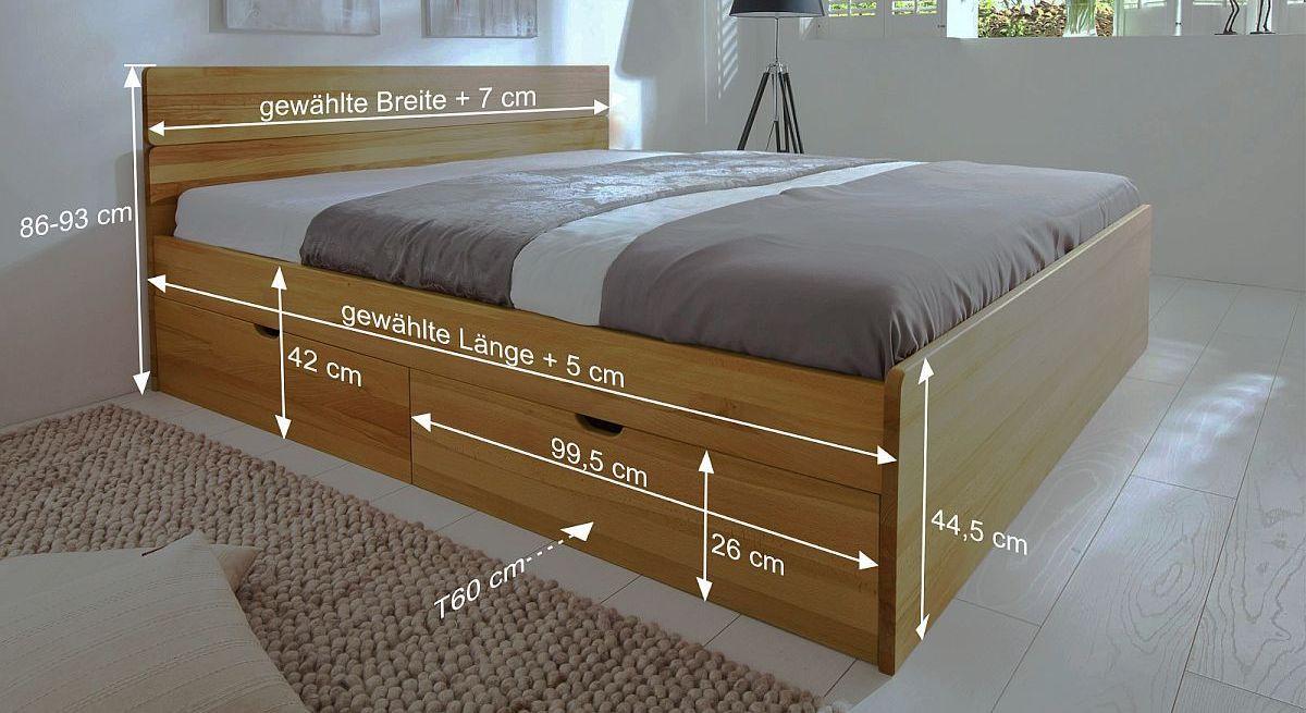 Bemaßungs-Skizze des Bettes Finnland
