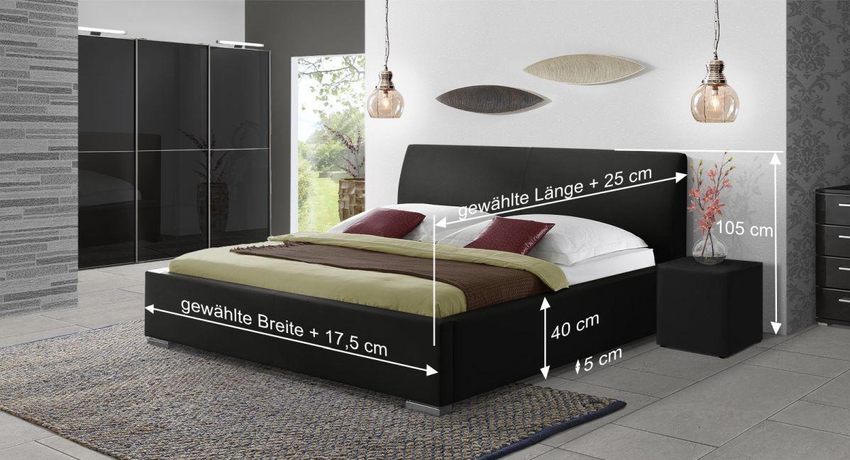 Bett Firenze Comfort mit Bemaßungs-Skizze