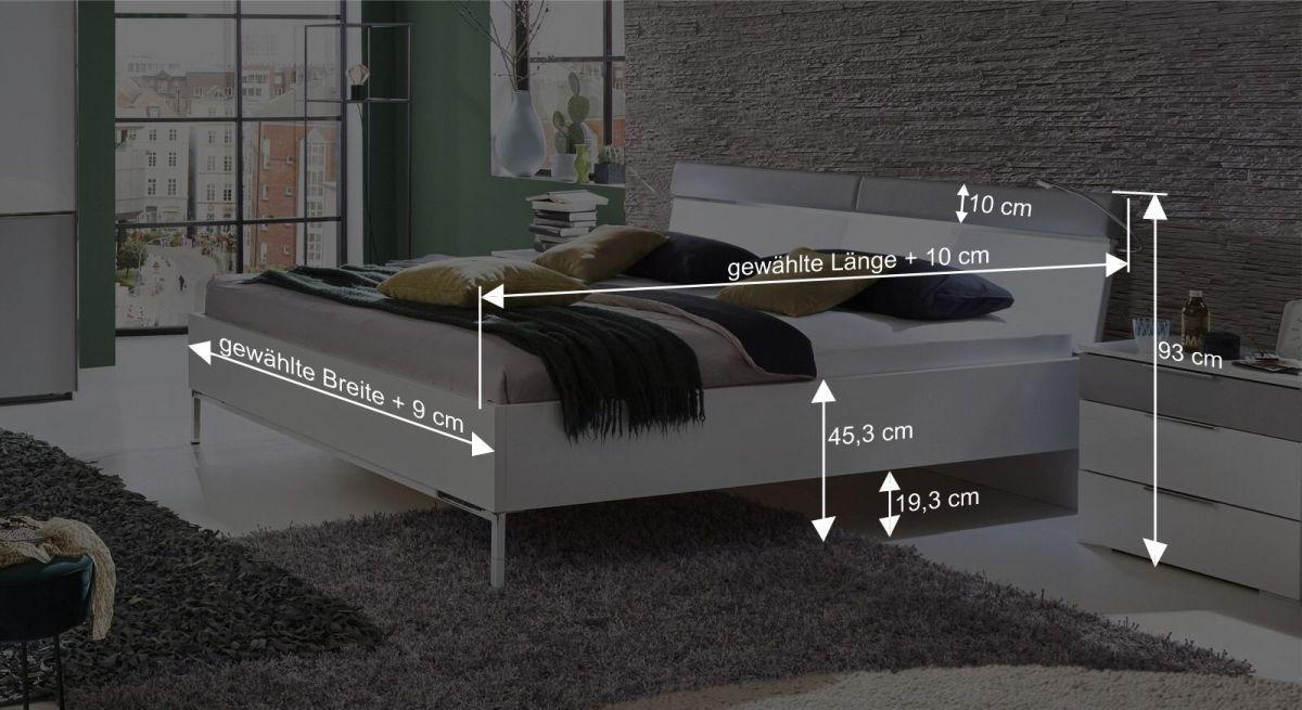 Bemaßungsgrafik zum Bett Florice