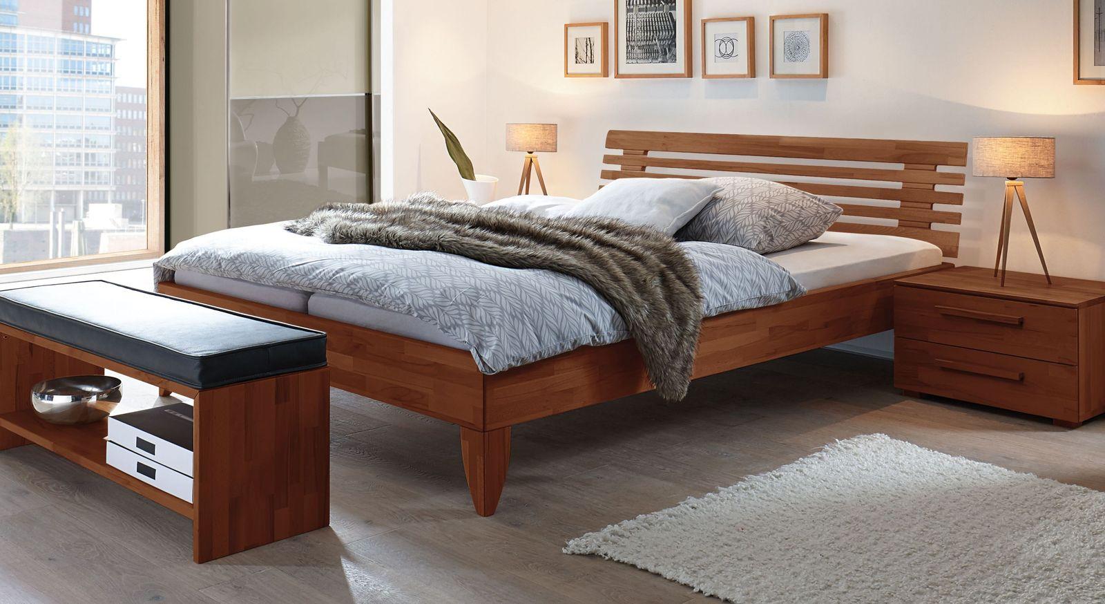Kirschbaumfarbenes Bett Fontana aus Buche