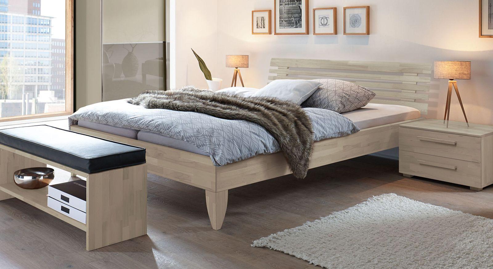 Weißes Bett Fontana aus Buche