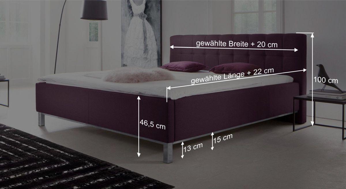 Bemaßungsgrafik zum Bett Fresia
