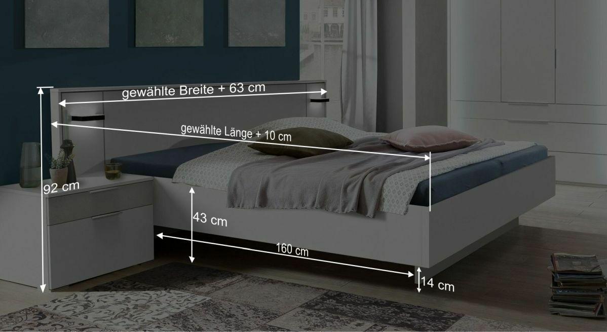 Bemaßungsgrafik zum Bett Fresno