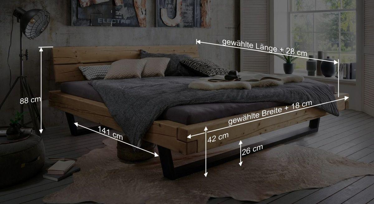 Bemaßungsgrafik zum Bett Galja