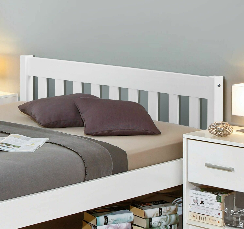 Preiswertes Bett aus weißer Kiefer z. B. in 140x200 cm - Genf