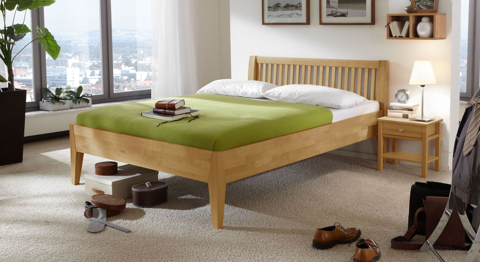 Bett Glarus Komfort aus natürlichem Buchenholz