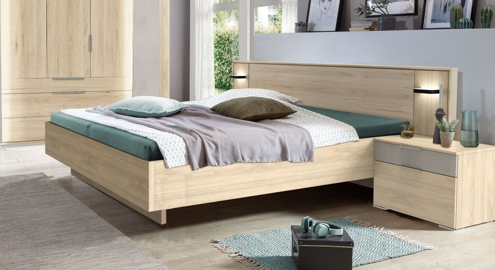 Bett Hayward in Hickory-Oak Nachbildung