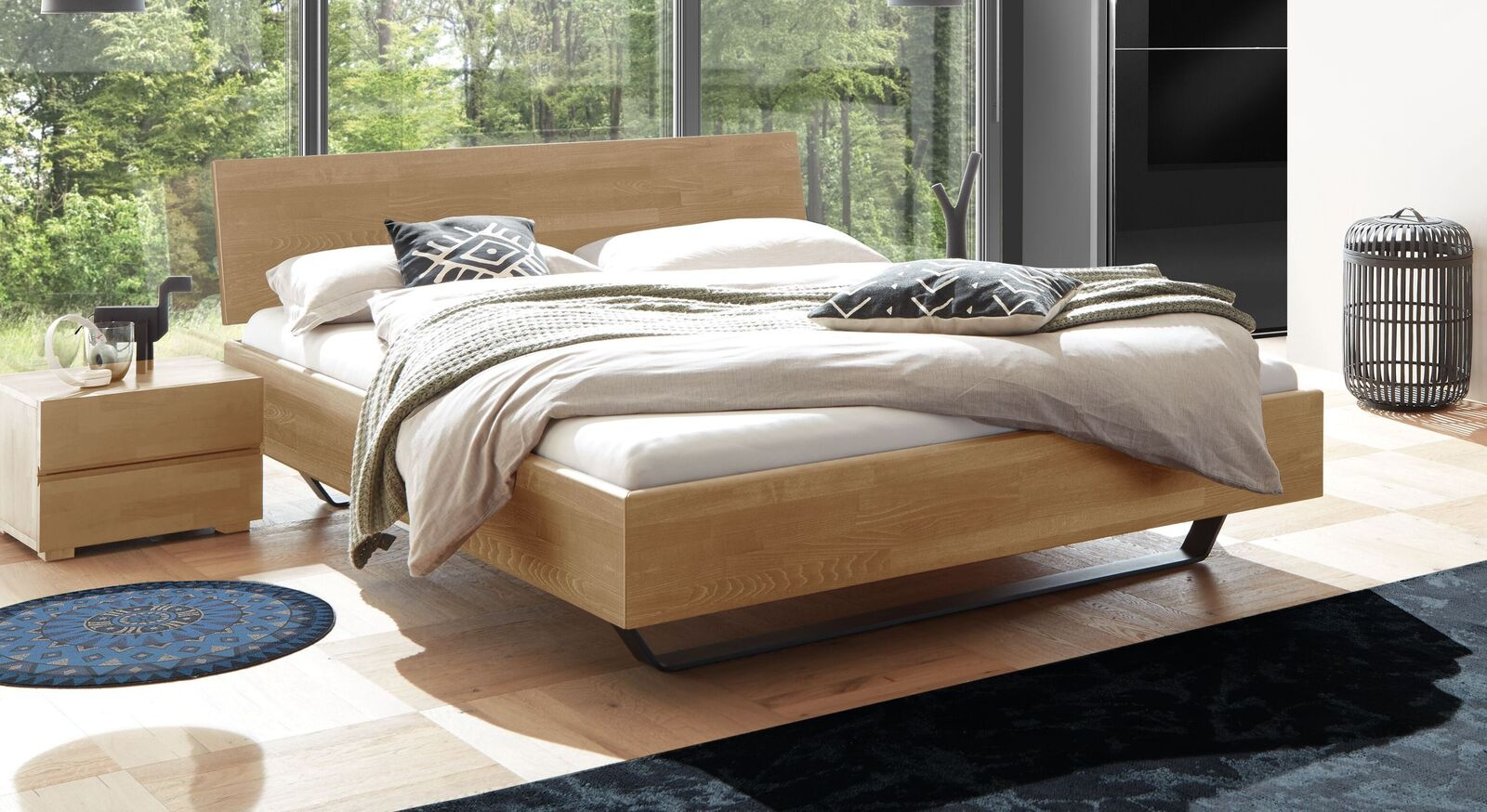 Bett Honoka aus massivem Buchenholz in Natur