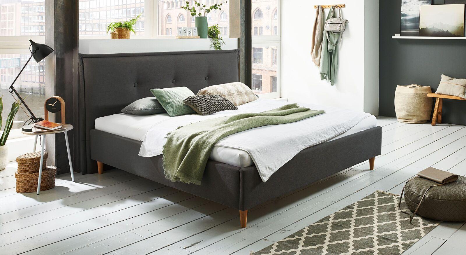 Bett Indore mit hochwertigem Webstoff in Anthrazit