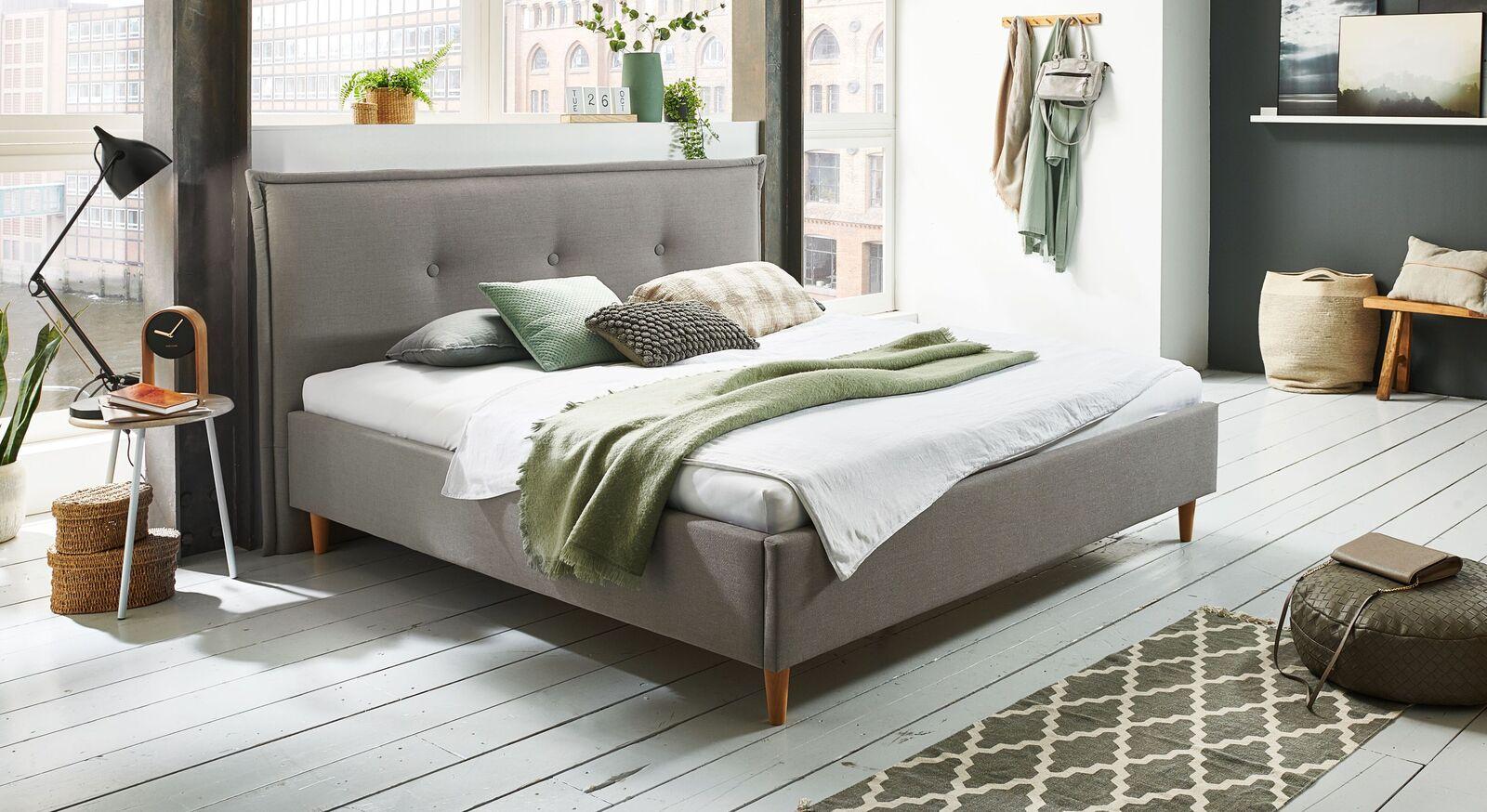 Bett Indore mit hochwertigem Webstoff in Grau