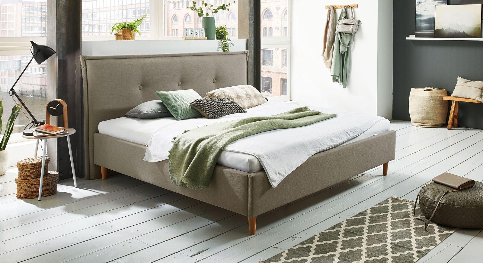 Bett Indore mit hochwertigem Webstoff in Taupe