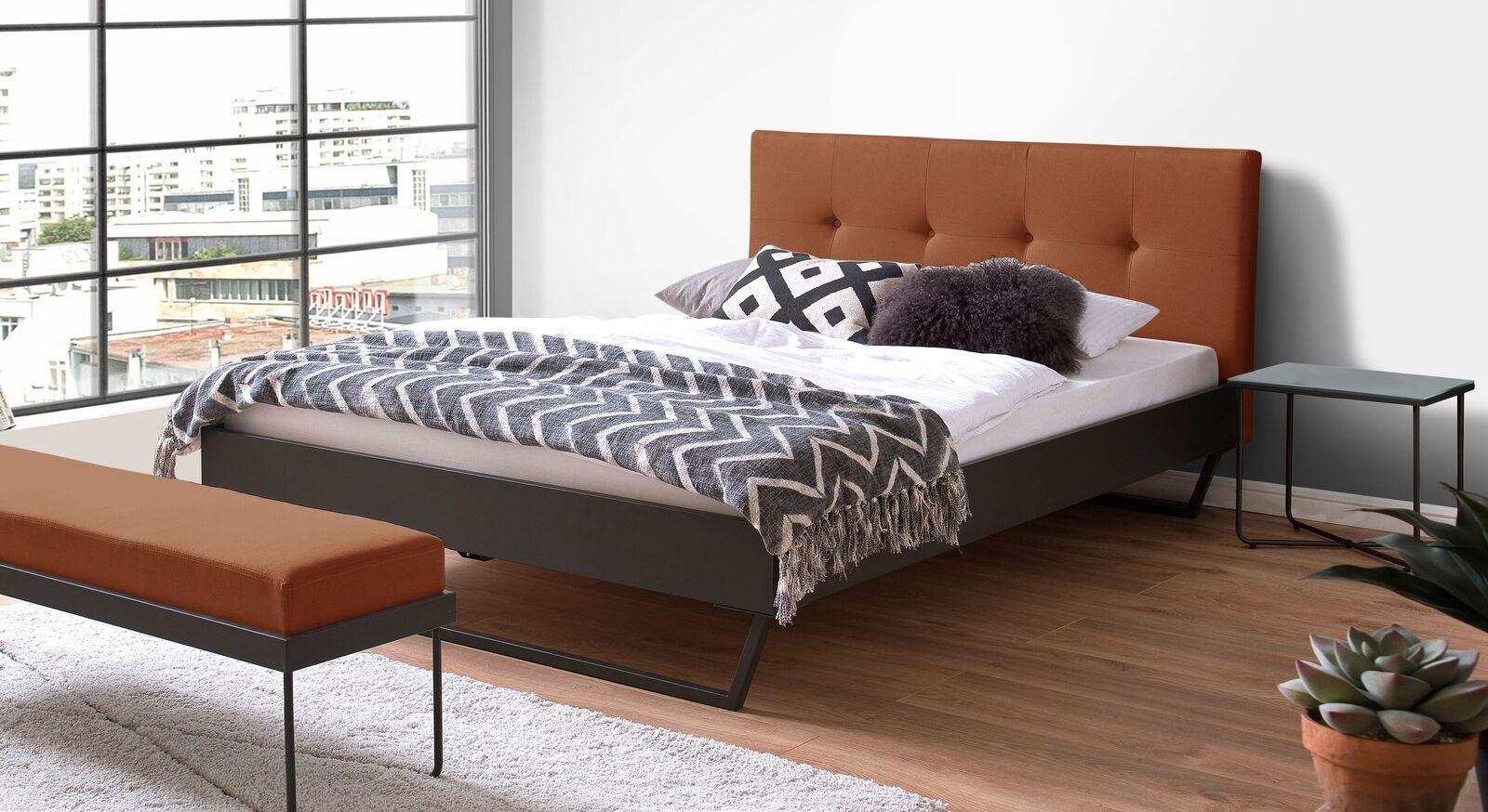 Modernes Bett Janka mit cognacfarbenem Kopfteil