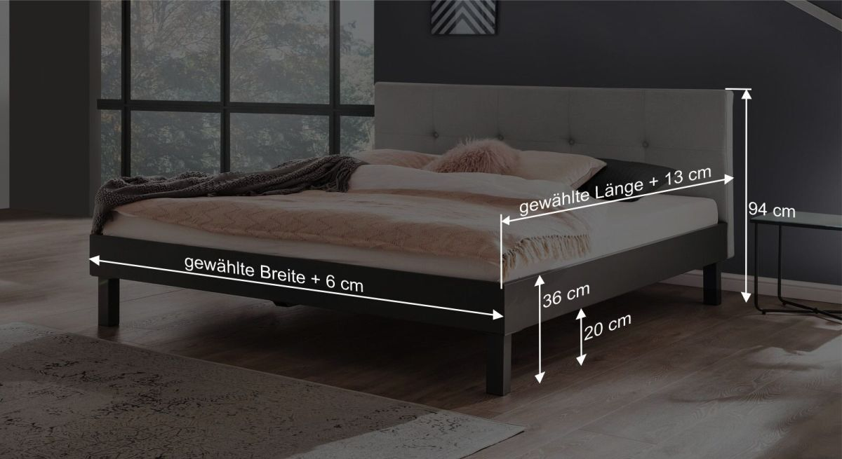 Bemaßungsgrafik zum Bett Jantra