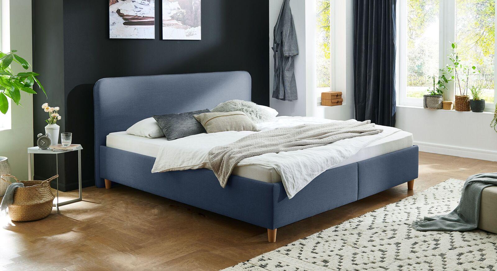Bett Kannur mit hochwertigem Webstoff in Blau