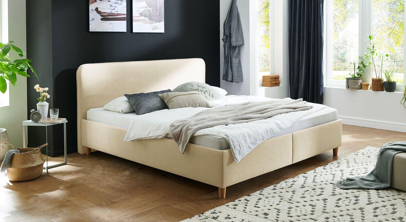 Bett Kannur mit hochwertigem Webstoff in Creme