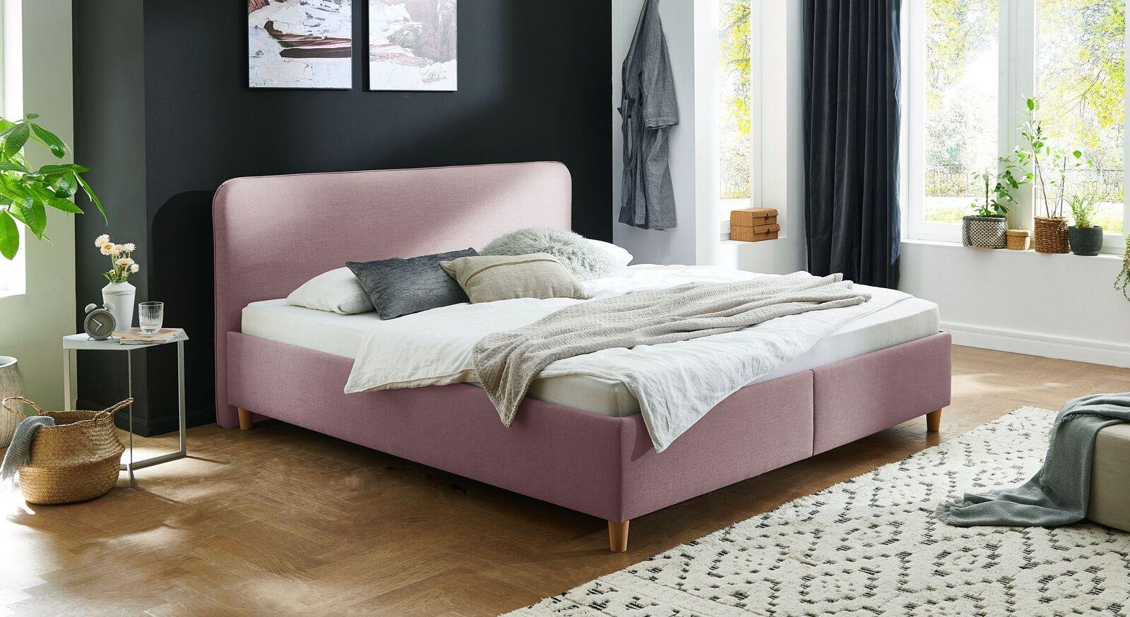Bett Kannur mit hochwertigem Webstoff in Flieder
