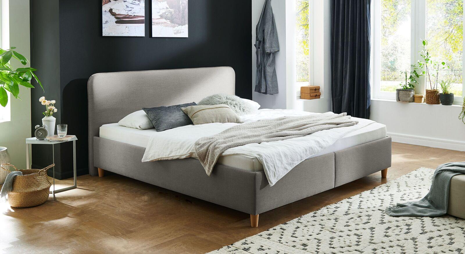 Bett Kannur mit hochwertigem Webstoff in Grau