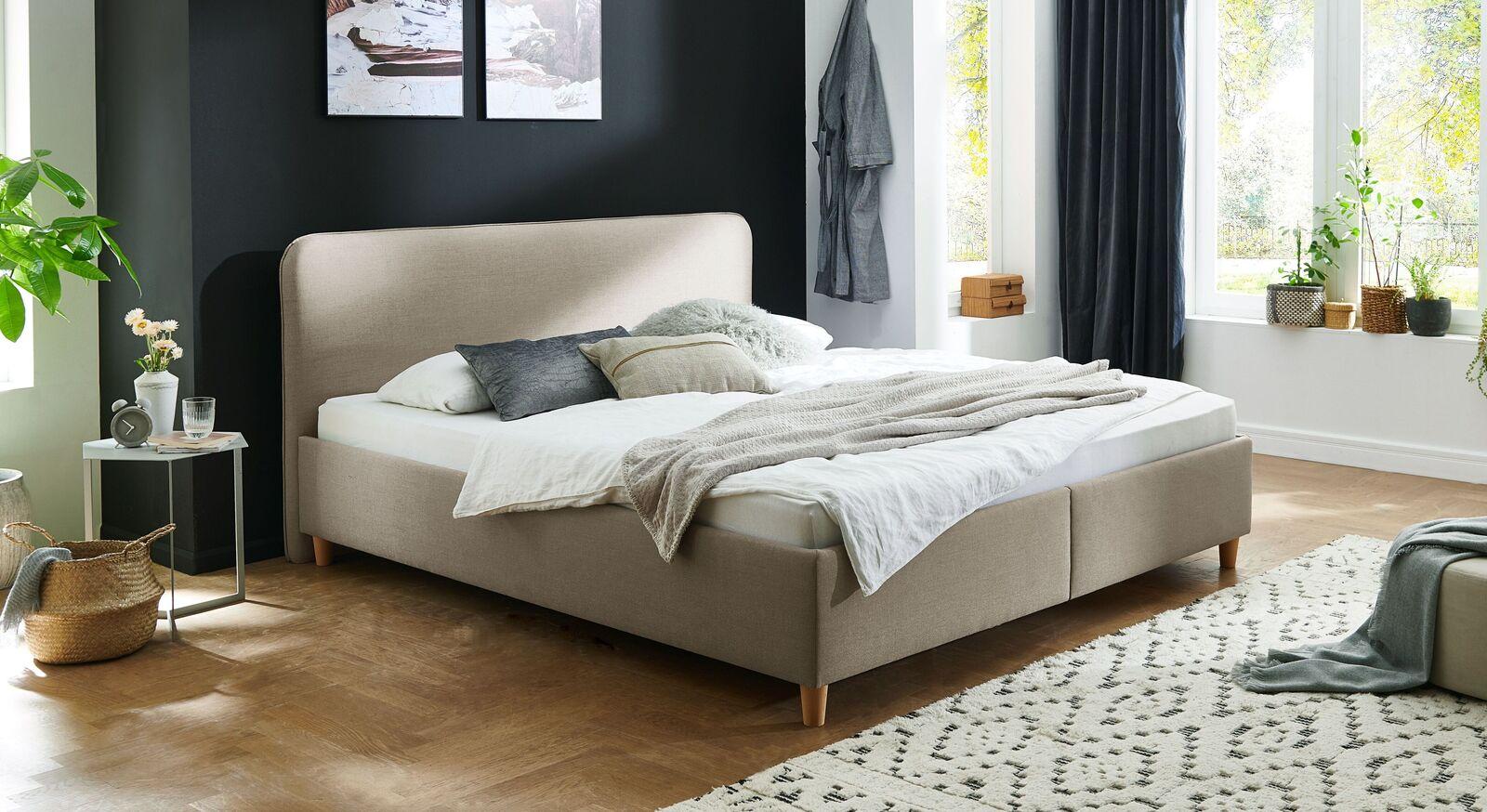 Bett Kannur mit hochwertigem Webstoff in Taupe